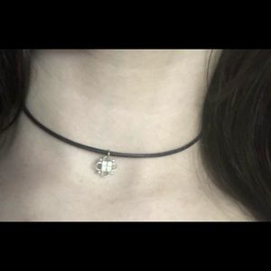 Real leather cord silver emblem choker